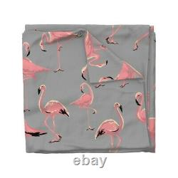 Flamingos Pink Tropical Birds Palm Trees Hollyce Sateen Duvet Cover by Roostery