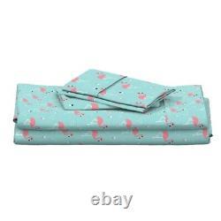 Flamingos Summer Tropical Bird Pink 100% Cotton Sateen Sheet Set by Roostery
