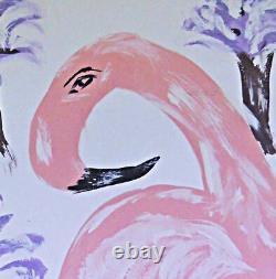 Folk Outsider Original Painting Pink Flamingo Purple Palm Trees Tropical Simon