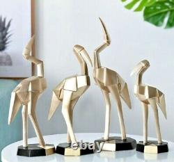 Geometric Flamingos Resin Statue Sculpture Figurine Tabletop Home Office Decor S