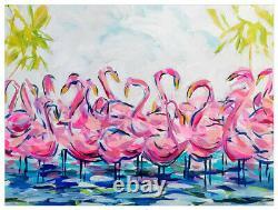 Greenbox Pink Flamingo Flock Together Tropical Birds Canvas Wall Art 18 x 14