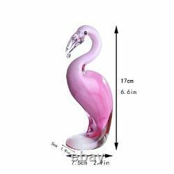 Hand Blown Pink Flamingo Murano Style Art Glass Figurine Christmas, Birthday New