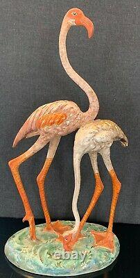 Hand Painted Delicate Hollywood Regency Signed Italian Ceramic Pink Flamingos