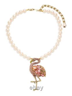 Heidi Daus Flirty and Fabulous Crystal Flamingo Drop Necklace NWT ADORABLE
