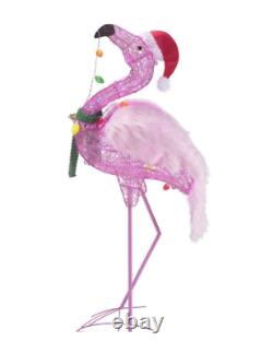 Home accents Christmas Flamingo Pink Light Up Yard Statue