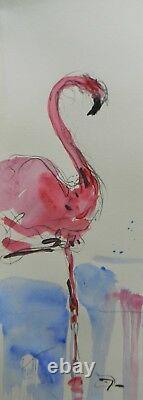 JOSE TRUJILLO Pink Flamingo Expressionist Abstract 24 Tall Acrylic Painting COA
