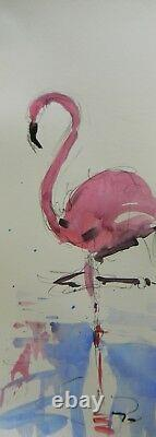 JOSE TRUJILLO Pink Flamingo Expressionist Abstract 9x24 Tall Acrylic Painting