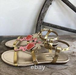 KATE SPADE Cute Gold Leather Pink Flamingo Flat Sandals 5.5M Very Rare! NEW