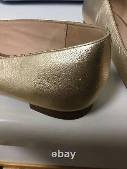 KATE SPADE Gold Leather Pink Flamingo Flats Very Rare! Size 8 EUC