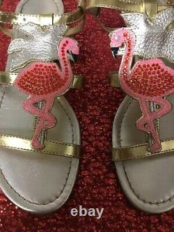 KATE SPADE Gold Leather Pink Flamingo TAMMY Sandals Very Rare! 7.5 EUC