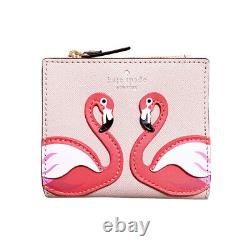 Kate Spade Flamingo Bifold Wallet Small Pink By The Pool Leather