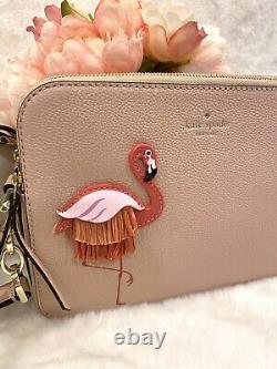Kate Spade Flamingo Crossbody Double Zip Camera Style Bag PINK LEATHER NWT