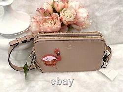 Kate Spade Flamingo camera Bag, strawithleather appliqué Double zip Pink
