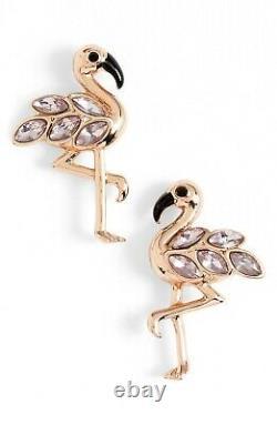 Kate Spade NY Bird's The Word Flamingo Earrings NWT Rose Gold Pink stone Bird