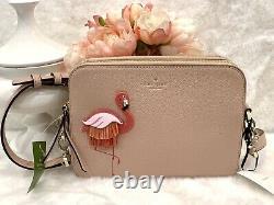 Kate Spade Straw Flamingo Crossbody Soft leather Double zip Pinkso Cute