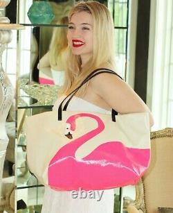 Kate Spade Tropical Flamingo Tote Wkru1486 Coated Canvas Bird Beach Travel