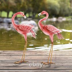 Kircust Flamingo Garden Statues and Sculptures, Metal Birds Yard Art Outdoor Sta