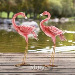 Kircust Flamingo Garden Statues and Sculptures, Metal Birds Yard Art Pink