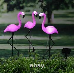 LED 3pcs Pink Flamingo Solar Powered Garden Ornament Light-up Waterproof Statue