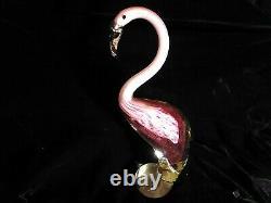 Large Impressive Murano Pink Flamingo Art Glass Figurine 11 1/2 1960s 1970s