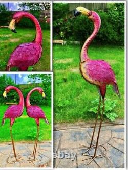 Large Metal Pink Garden Pond Flamingo Party Ornaments Decoration free standing