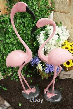 Large Set of 2 Tropical Rainforest Paradise Pink Flamingo Birds Garden Statues