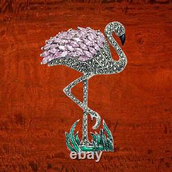 Large Sterling Silver Flamingo Pink Bird Pin with Pink CZ, Marcasite & Enamel
