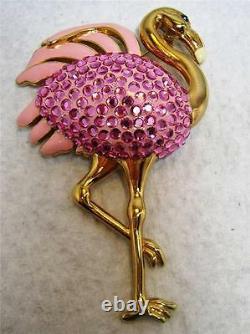 Large Suzanne Bjontegard Crystal Rhinestone Enamel Pink Flamingo Bird Brooch