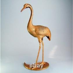 Large figurine BRONZE STATUETTE, PINK FLAMINGO cast iron painted in copper color