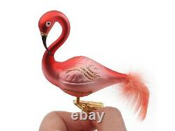 Lot (6) Czech blown glass flamingo bird Christmas tree decorations ornaments