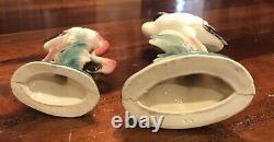 MCM Set of 2 Flamingo Vintage Bird Figurines Pottery Pink 10 & 6 USA