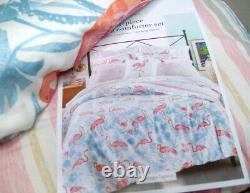 Martha Stewart Coral Pink Blue Flamingo Bird Lagoon Stripes King Comforter Shams