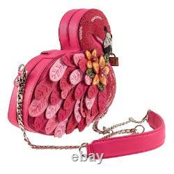 Mary Frances Ruffle My Feathers Beaded Crossbody Flamingo Handbag