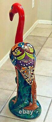 Mexican Talavera Flamingo Pink Bird Pottery Large 27 Figure Folk Art