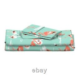 Mint + Pink Flamingo Bird Coral Beach 100% Cotton Sateen Sheet Set by Roostery