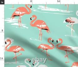 Mint + Pink Flamingo Bird Coral Beach Summer Sateen Duvet Cover by Roostery