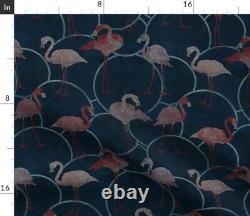 Mosaic Flamingo Pink Flamingos Birds Indigo Navy Sateen Duvet Cover by Roostery