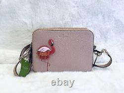 NWT Kate Spade Flamingo Camera bag crossbody, strawithleather appliqué Double zip