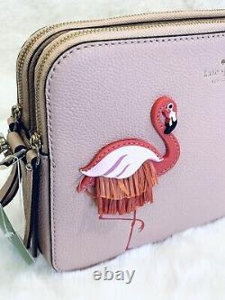 NWT Kate Spade Flamingo crossbody Bag, strawithleather appliqué Double zip Pink