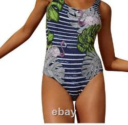 NWT ONIA Kelly L pink flamingos stripe swimsuit one piece $195 tank maillot navy