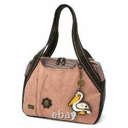 New Chala Bowling Tote Large Shoulder Bag Rose Pink Pleather gift PELICAN Bird