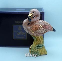 New De Rosa Rinconada Figurine Amazing Pink Flamingo Bird Gold Enamel DeRosa