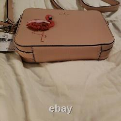 New Kate Spade Flamingo Camera Bag By the Pool Pebbled leath. Crossbody WKRU5953
