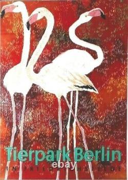 Original vintage poster BERLIN ZOO PINK FLAMINGOS 1965