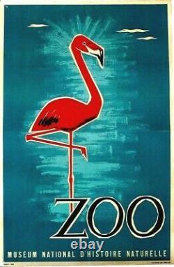 Original vintage poster PINK FLAMINGO NATURAL HISTORY MUSEUM c. 1945