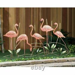 Outdoor Tropical Pink Metal Flamingos Garden Statue Deco Outdoor Bird Yard Stake