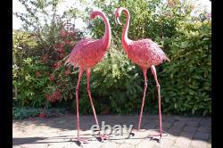 Pair of Giant Pink Metal Flamingo Garden Lawn Ornament Bird Statue Outdoor Pond