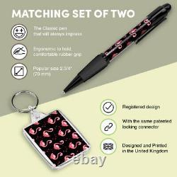 Pen & Keyring (Rectangle) Cute Pink Flamingo Bird Cool #2075