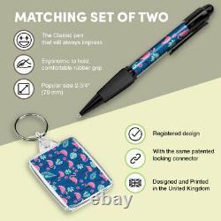Pen & Keyring (Rectangle) Tropical Flamingo Birds Pink Summer #8461