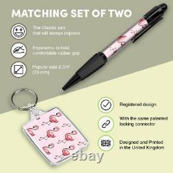 Pen & Keyring (Rectangle) Tropical Pink Flamingos Bird #2081